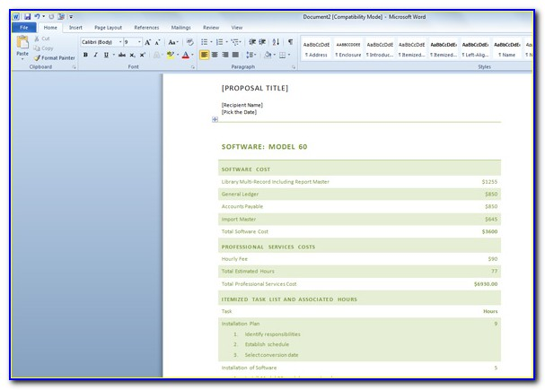 Software Proposal Template Word Free