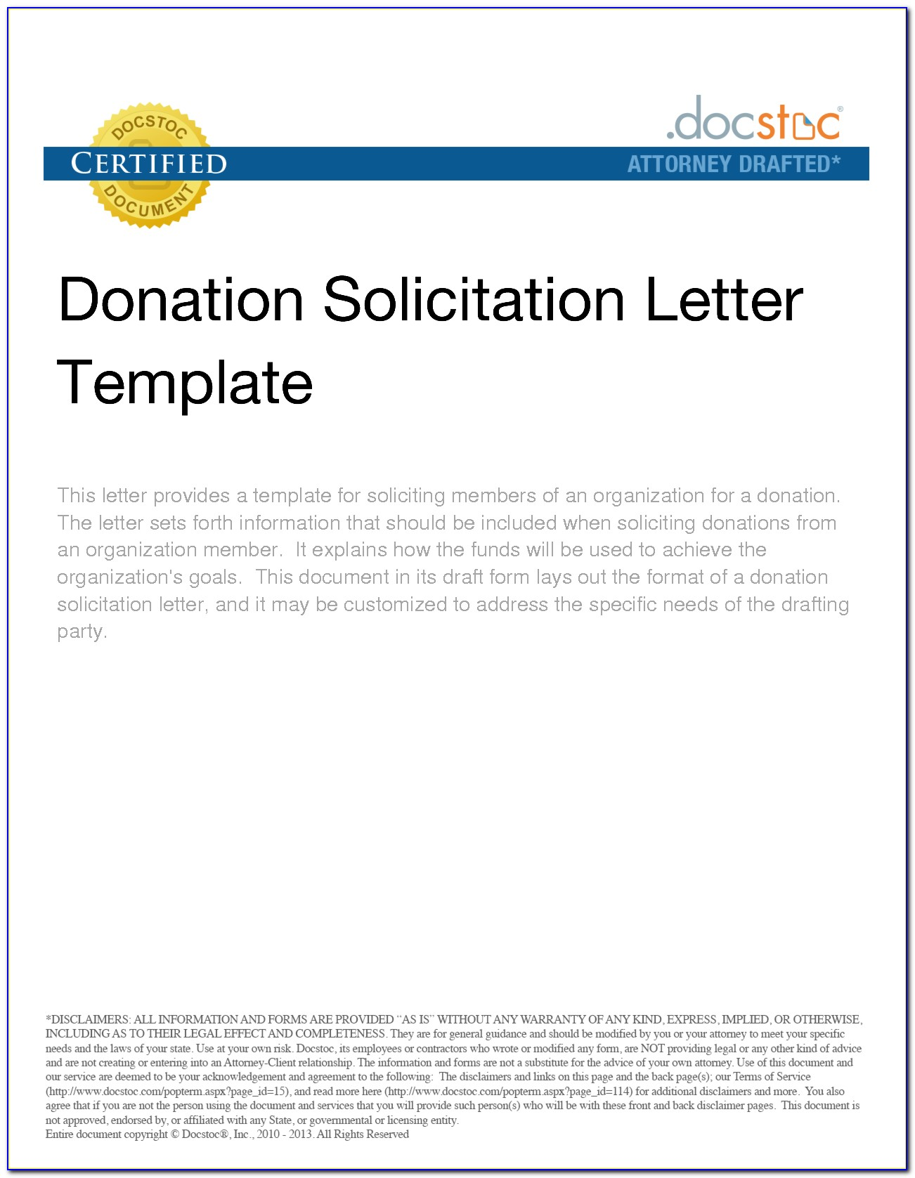 Solicitation Letter Template Donations