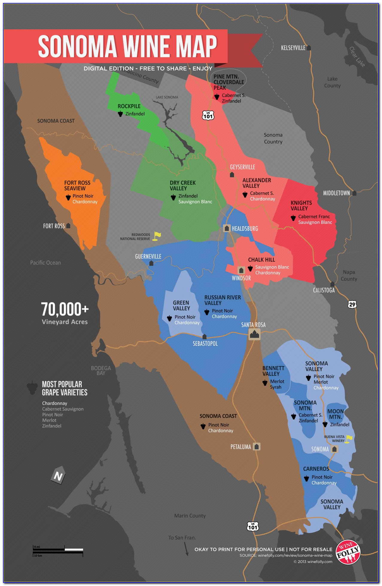 Sonoma Ca Wine Map