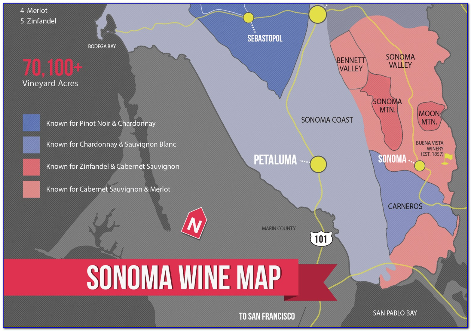 Sonoma County Wine Appellations Map