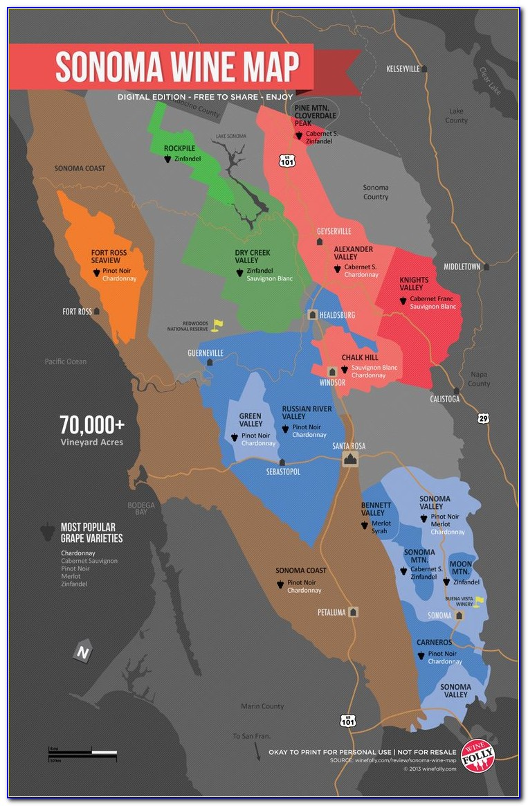Sonoma Wine Road Map