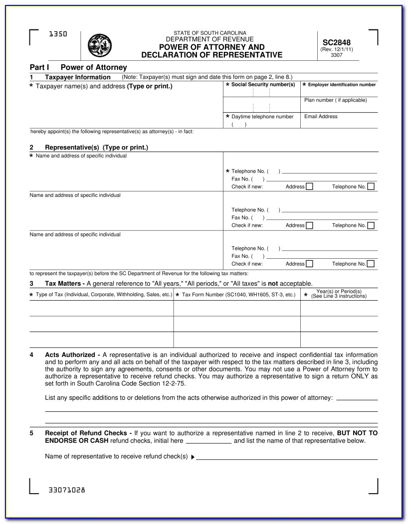 South Carolina Unemployment Power Of Attorney Form