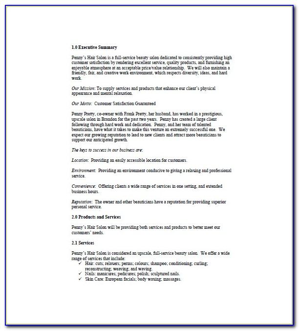 Spa Business Plan Examples