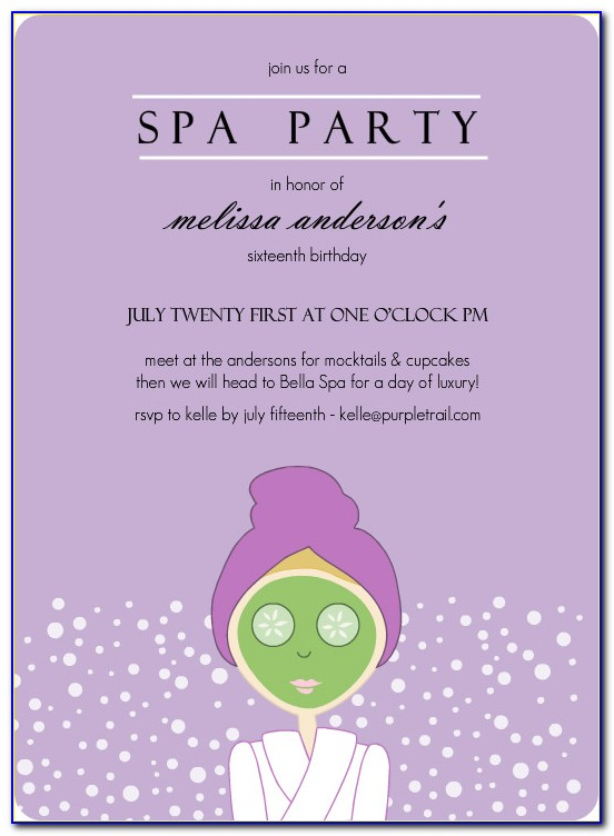 Spa Invitation Template Free
