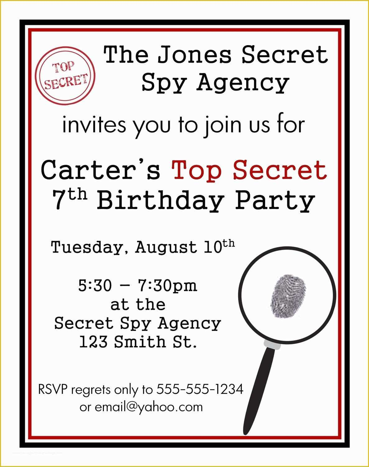 Spy Birthday Party Invitation Template Free Of Secret Agent Spy Birthday Invitations