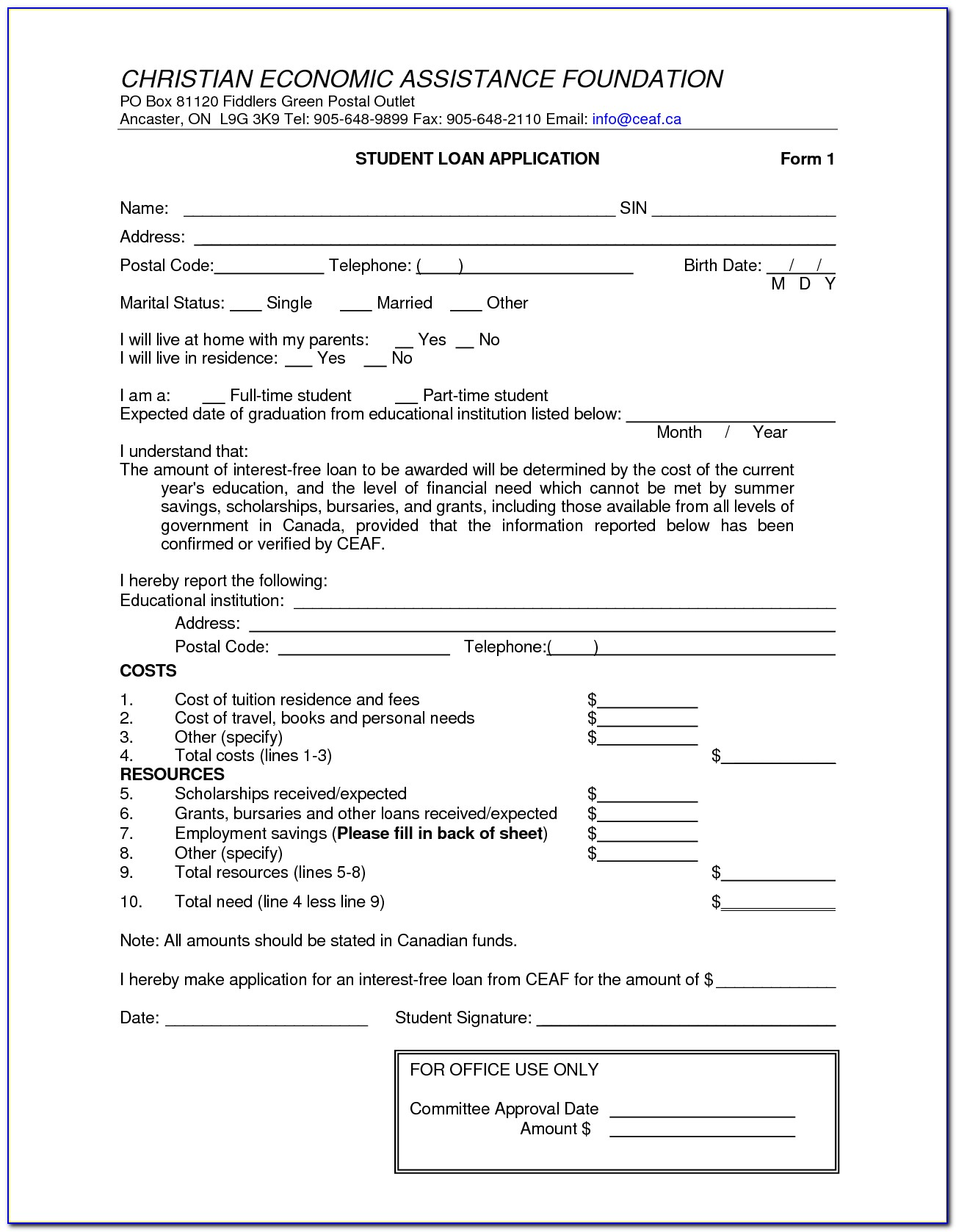 Staff Loan Agreement Form Template Vincegray2014