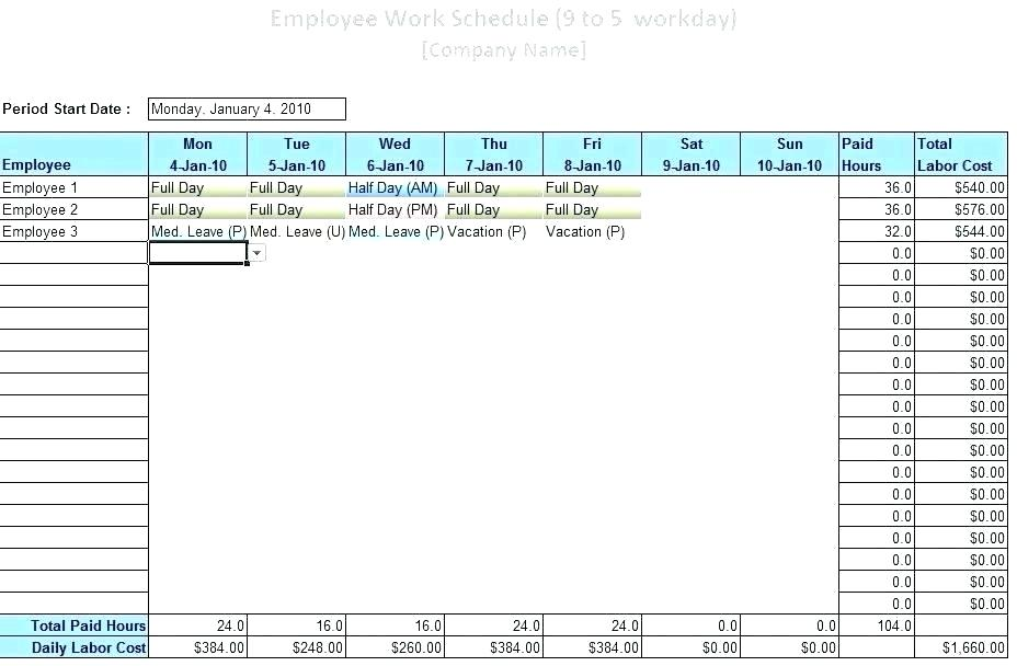 Staffing Schedule Template Excel