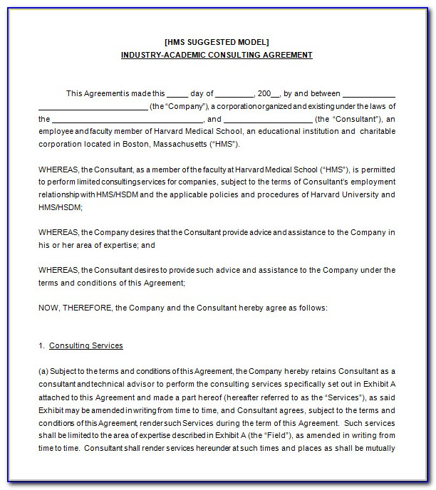 Standard Consulting Contract Template Free