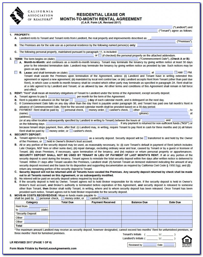 Standard Lease Agreement Form Thailand