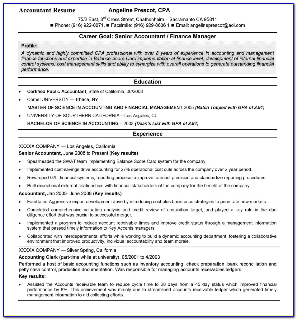 Standard Resume Format For Accountant