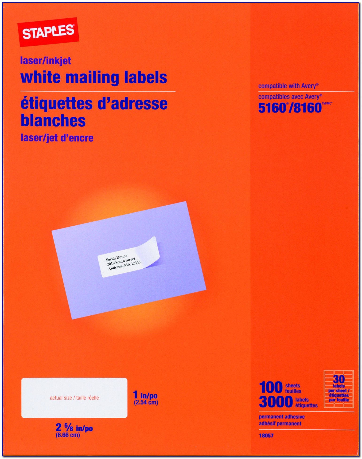 Staples Address Label Template 5160