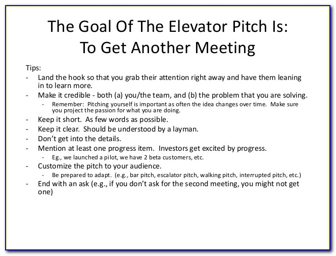 Startup Elevator Pitch Example