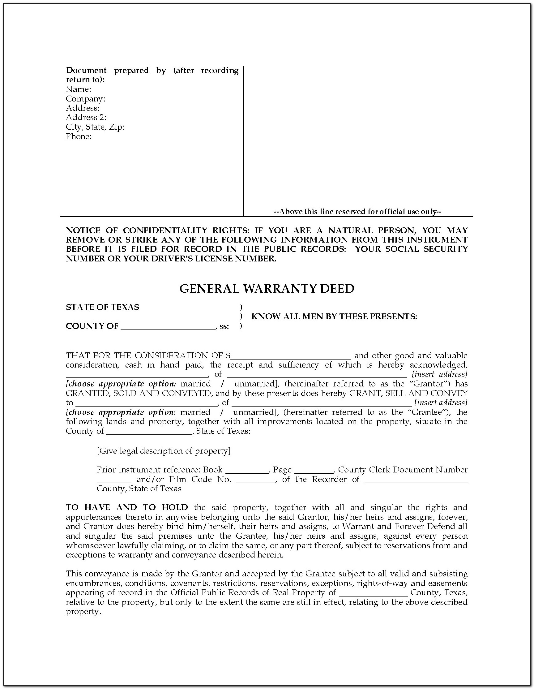 State Bar Of Texas General Warranty Deed Form