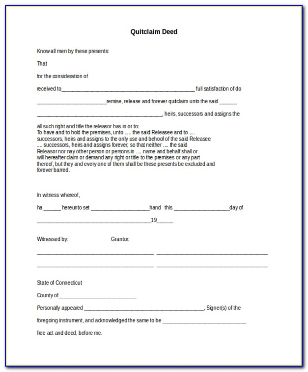 State Of Ct Quit Claim Deed Form