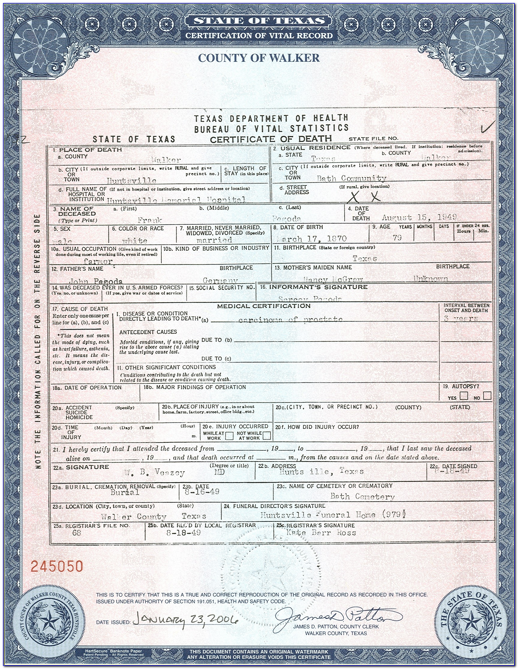 State Of Texas Birth Certificate Request Form
