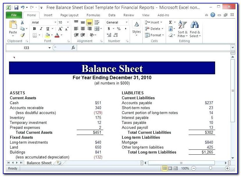 Statement Of Financial Position Template Xls