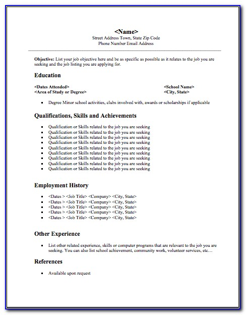 Student Resume Template Word Free