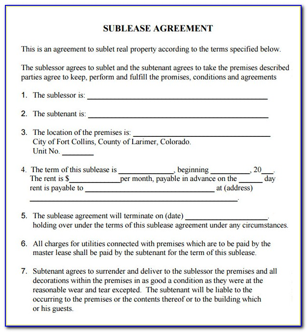 Sub Rent Agreement Format