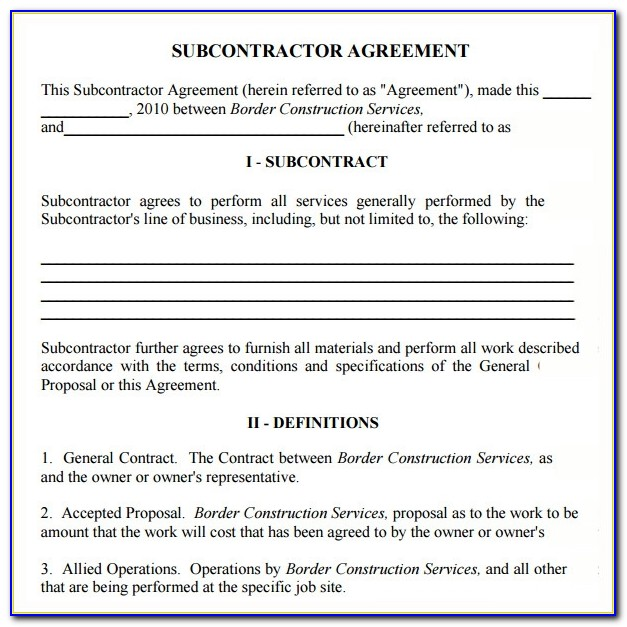 Subcontractor Agreement Template Free Uk
