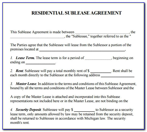 Sublease Agreement Template Victoria