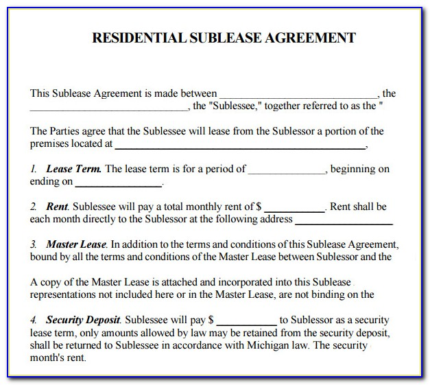 Sublet Lease Agreement Template New York