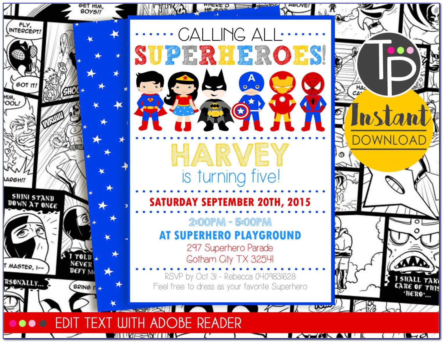 Superhero Birthday Invitation Templatesuperhero Birthday Invitation Template