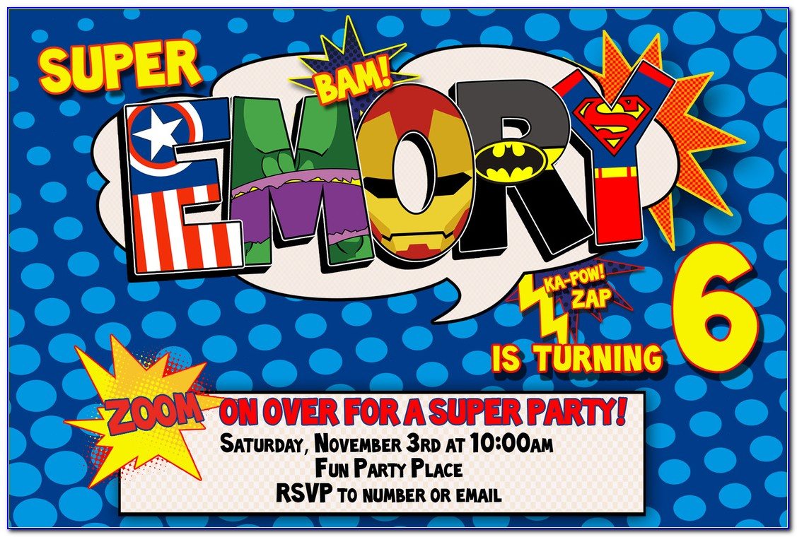 Superhero Birthday Party Invitation Templates
