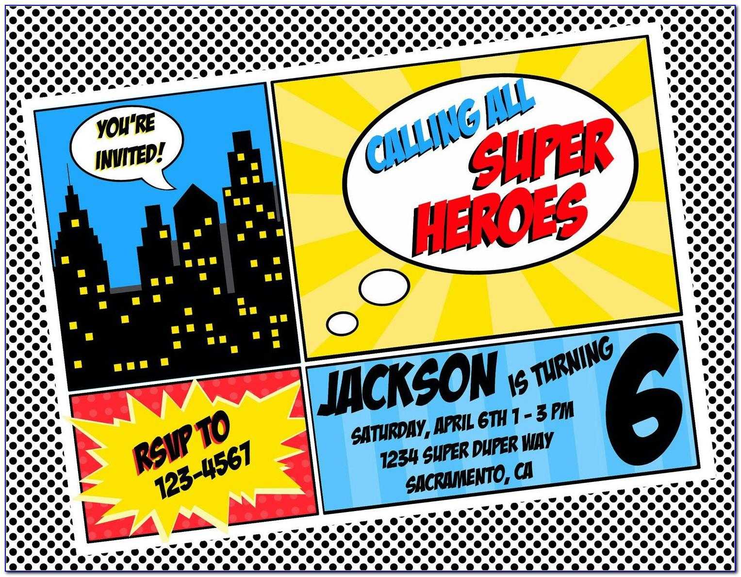 Superhero Birthday Party Invitations Templates Free