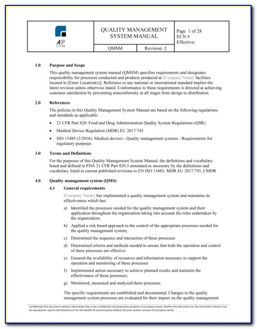Supplier Quality Agreement Template Iso 13485