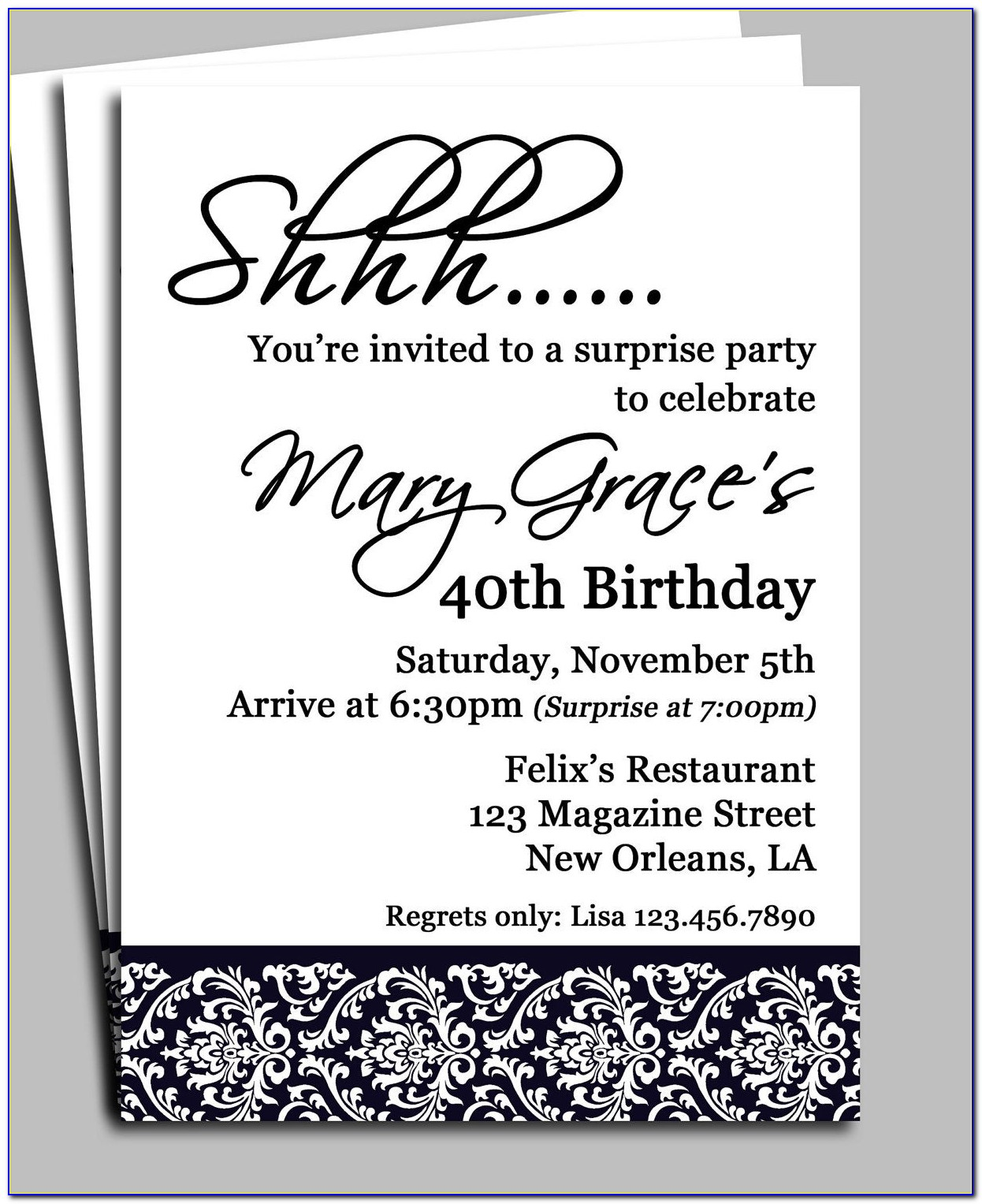 Surprise 40th Birthday Party Invitations Templates Free