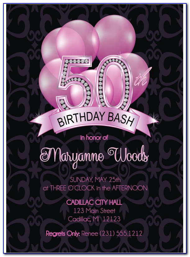 Surprise 50th Birthday Invitations Templates Free