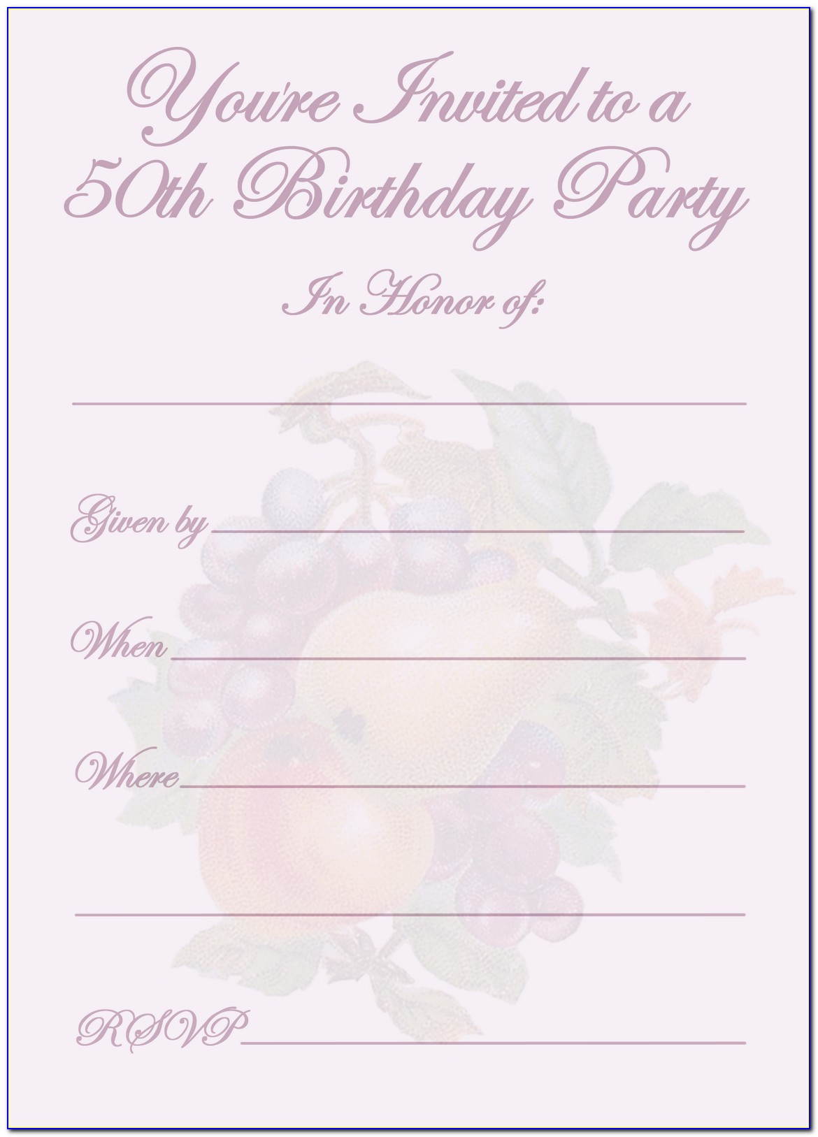 Surprise 50th Birthday Party Invitations Templates Free