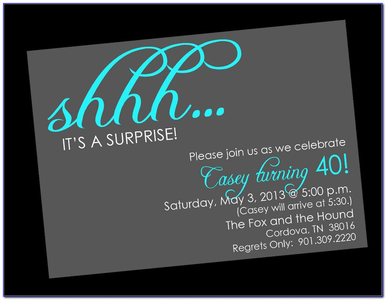 Surprise Birthday Party Invitations Free Templates