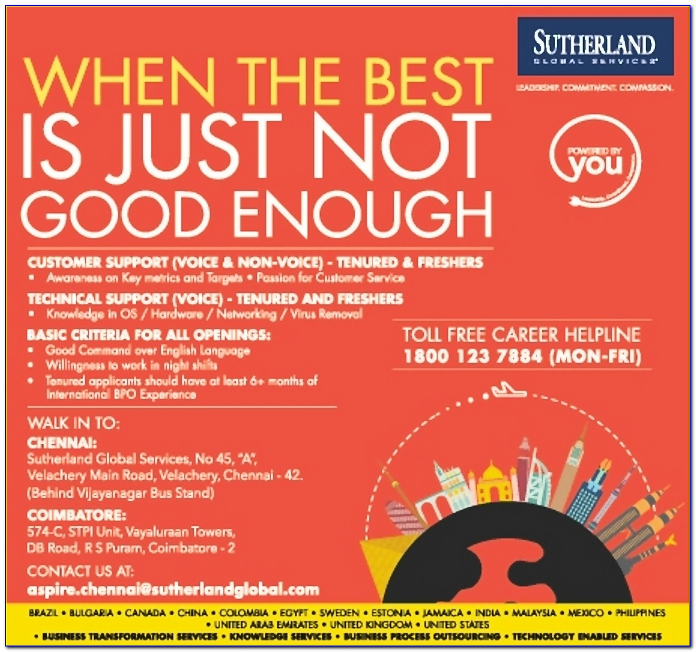 Sutherland Global Services Job Openings In Chennai