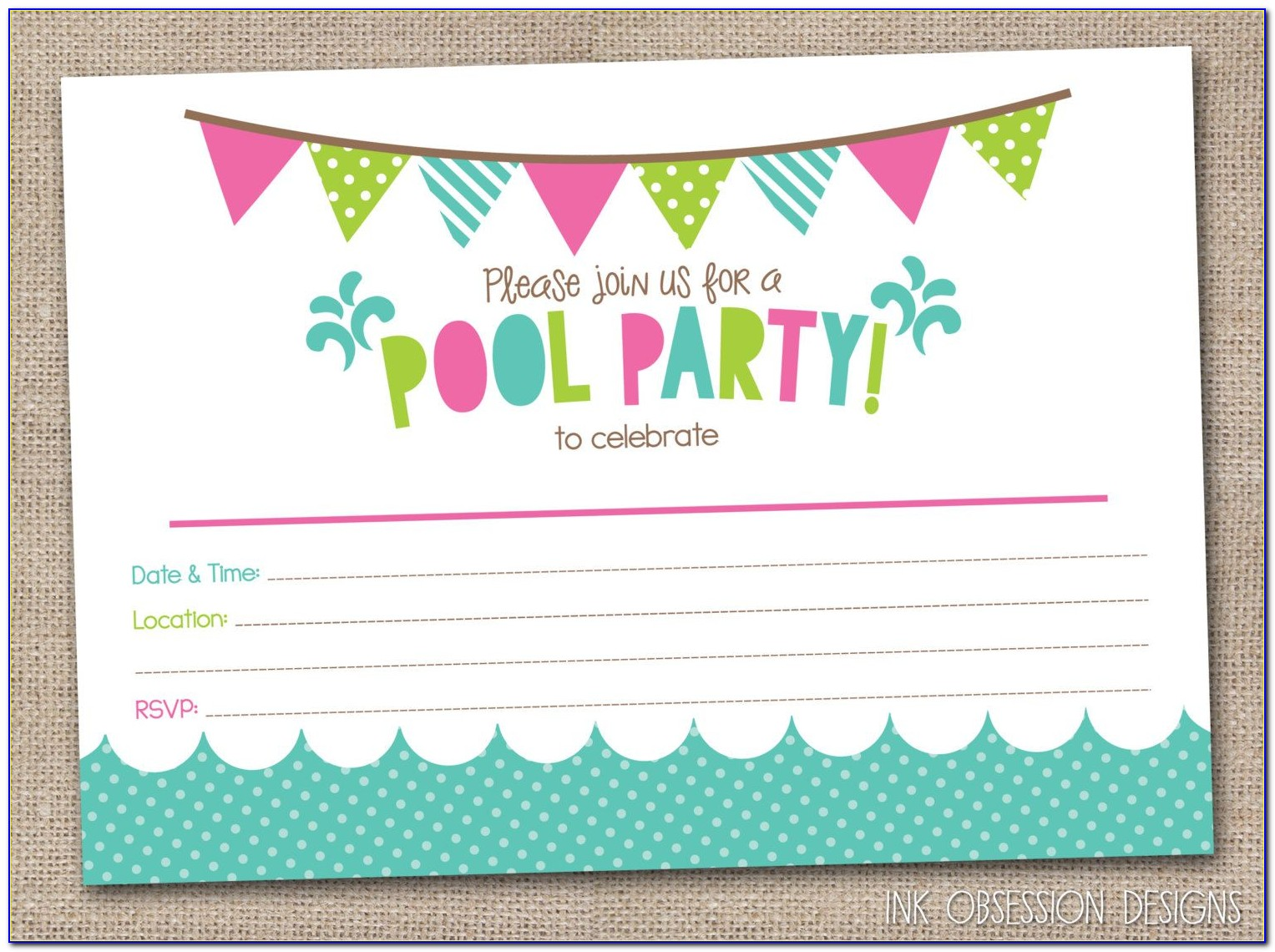 Swimming Party Invitation Template