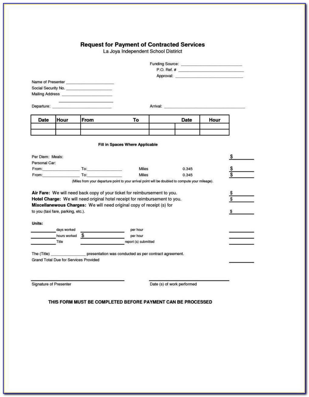 0 Hour Contract Template