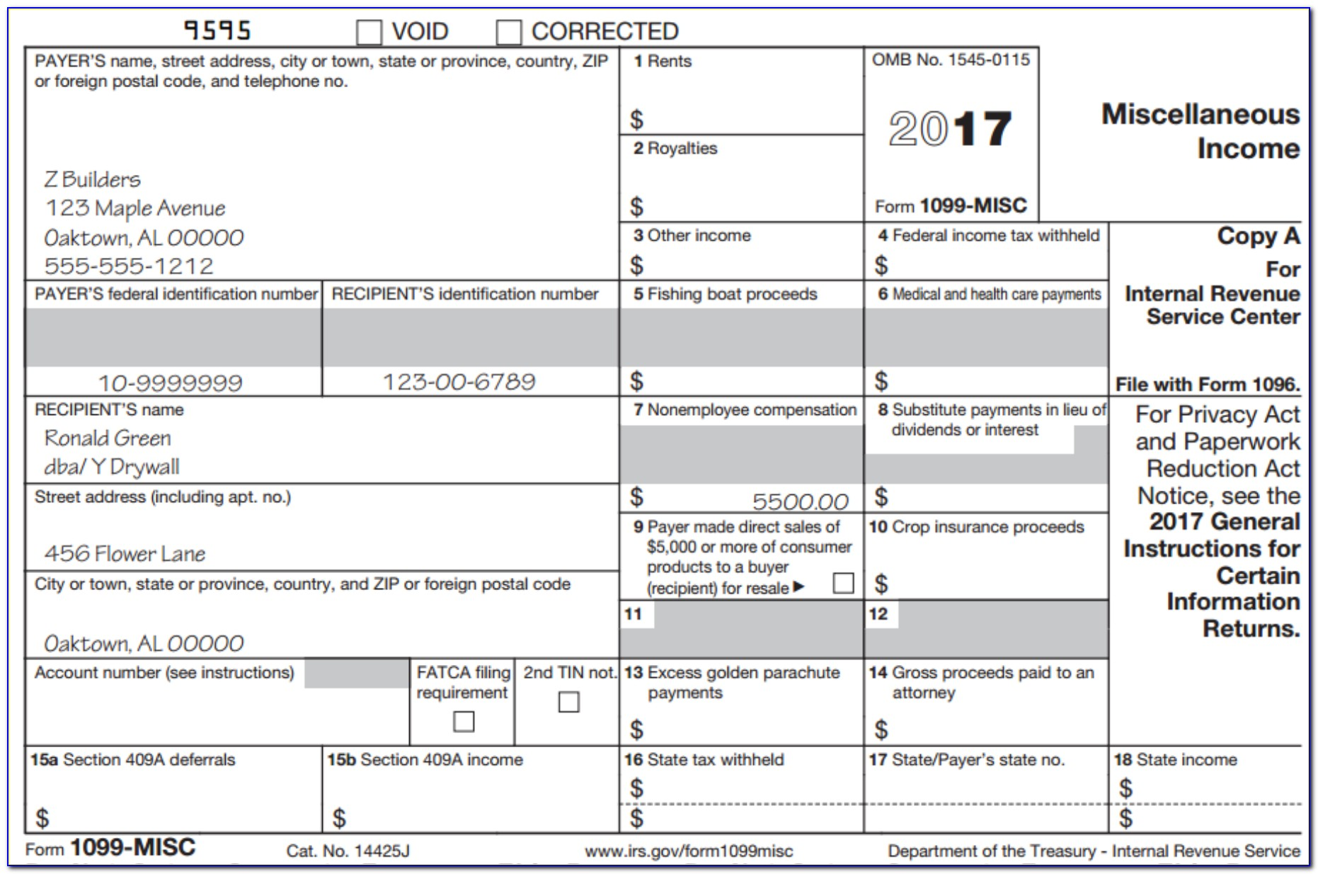 Tax Form 1099 Misc 2016