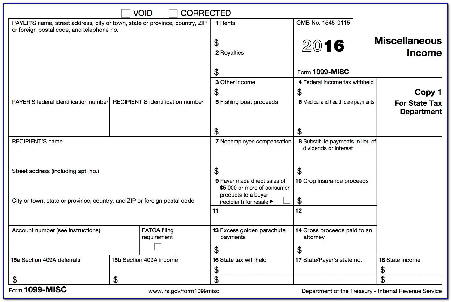 Tax Form 1099 Misc Instructions