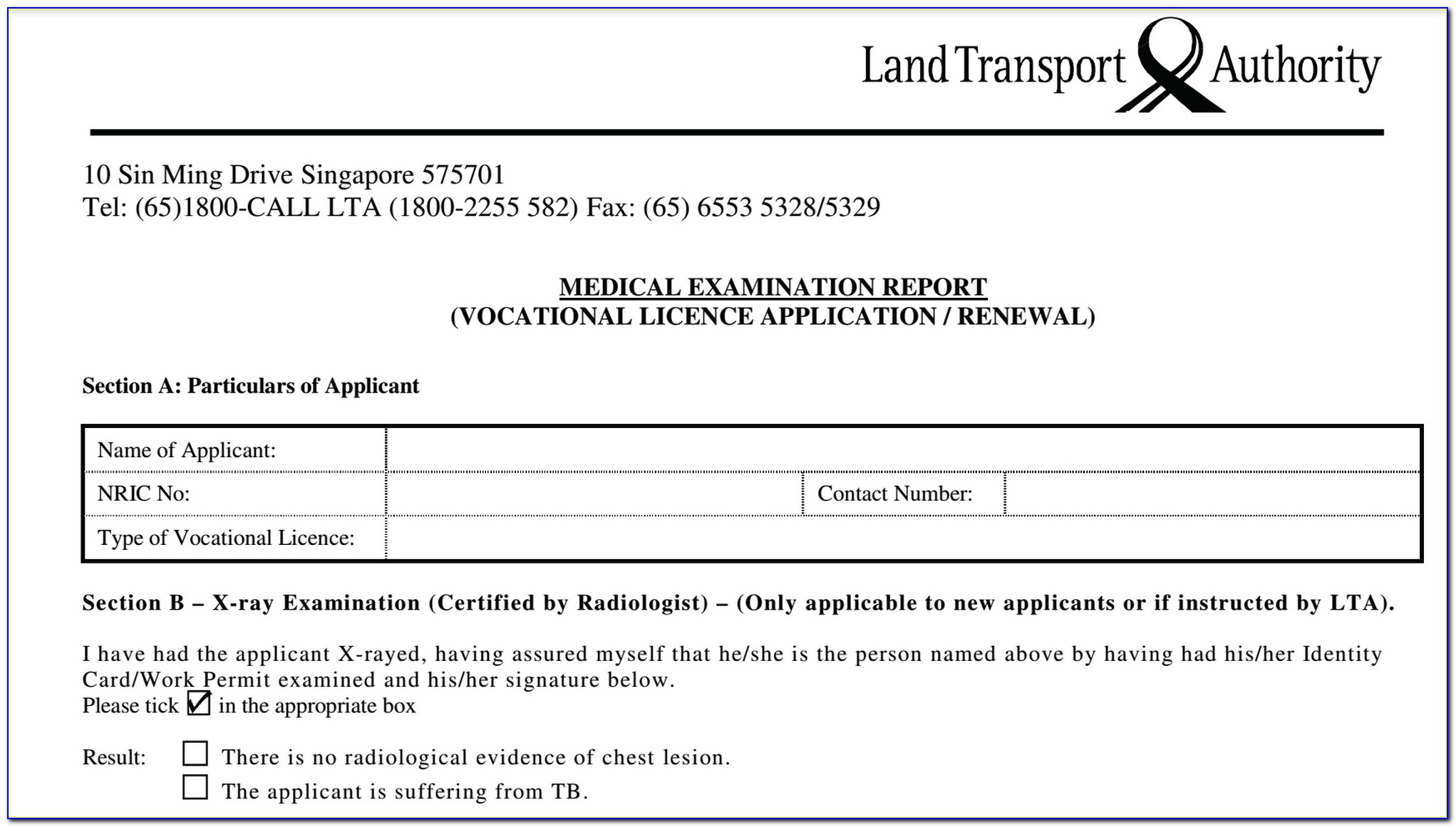 Taxi Driving Licence Application Form