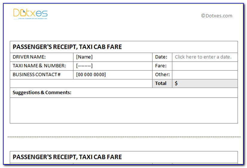 Taxi Invoice Format In Word