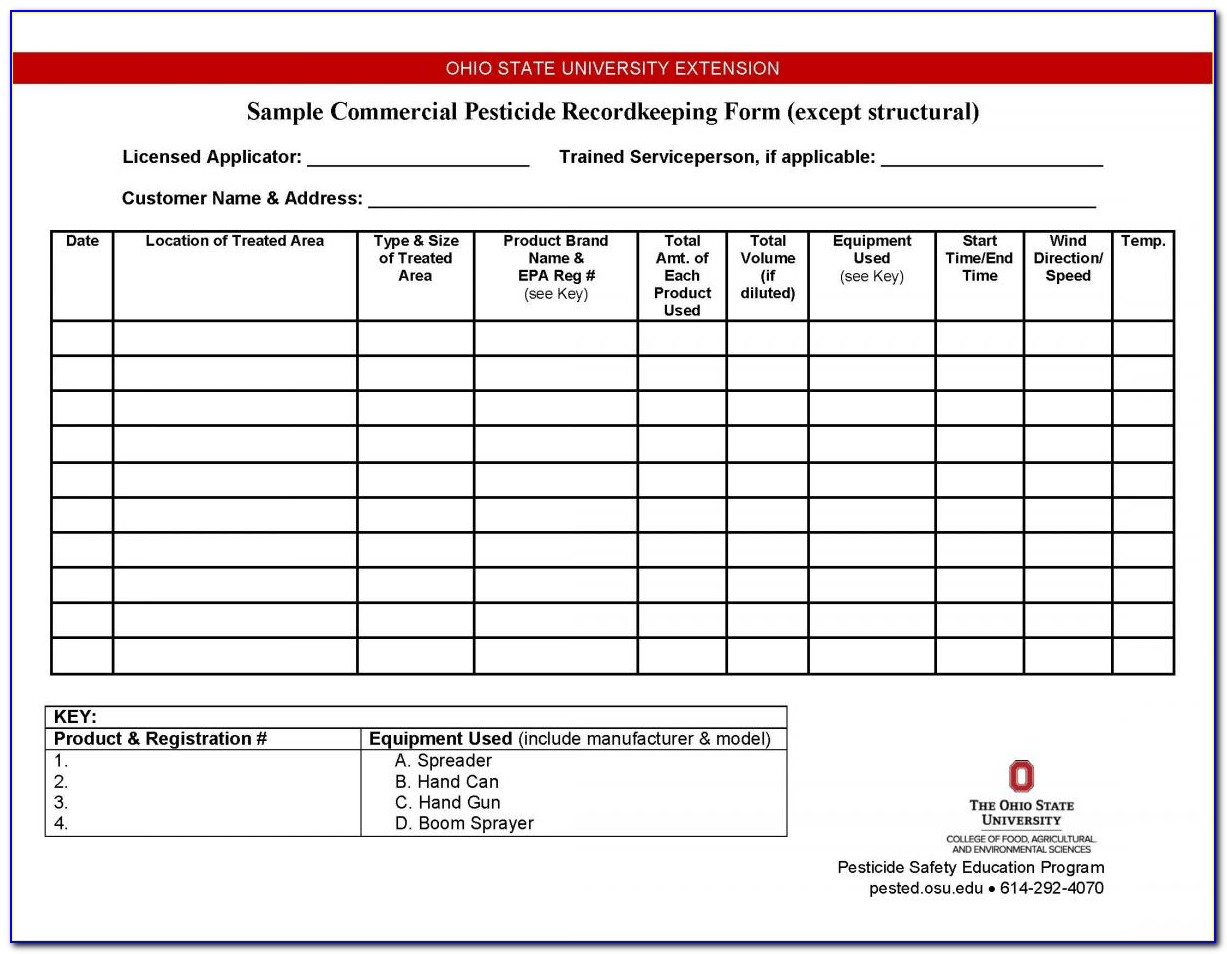 Tda Pesticide Record Keeping Form