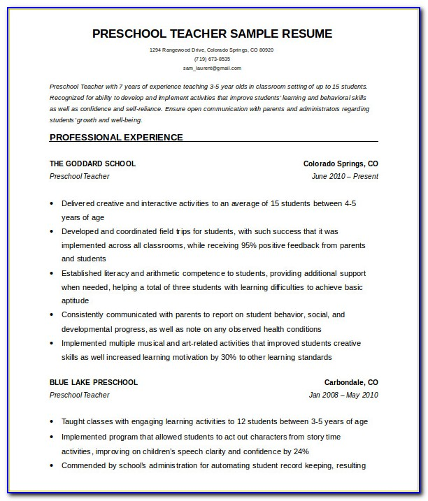 Teacher Cv Templates Free