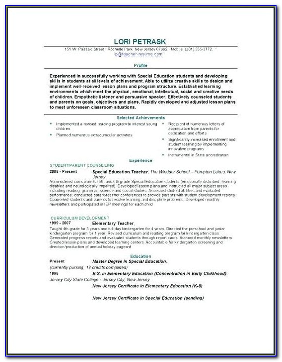 Teacher Resume Template Word 2007