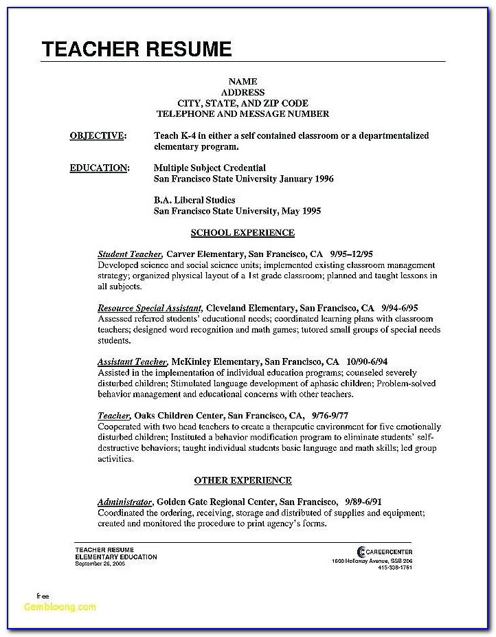 Teacher Resume Templates Microsoft Word 2007 India