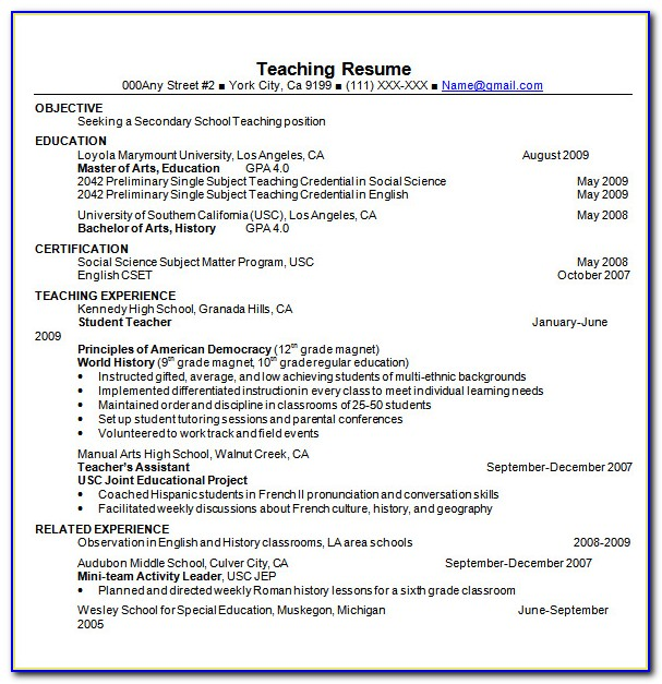 Teacher Resume Templates Microsoft Word 2007