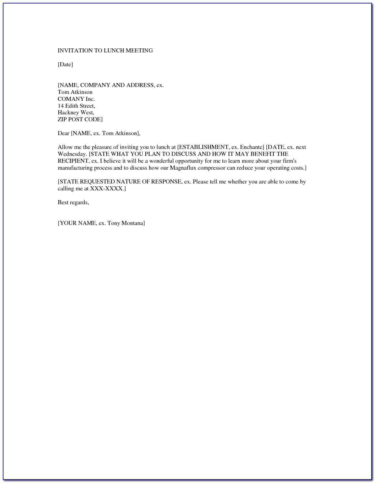 Team Lunch Invitation Email Template