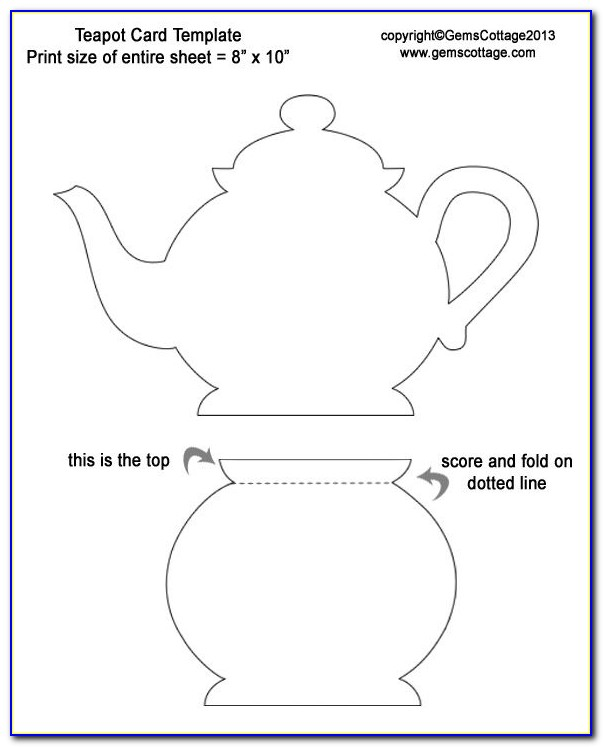 Teapot Card Template Mothers Day