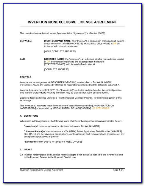 Technology Licence Agreement Template