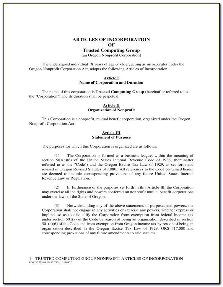 Template Articles Of Incorporation Ontario