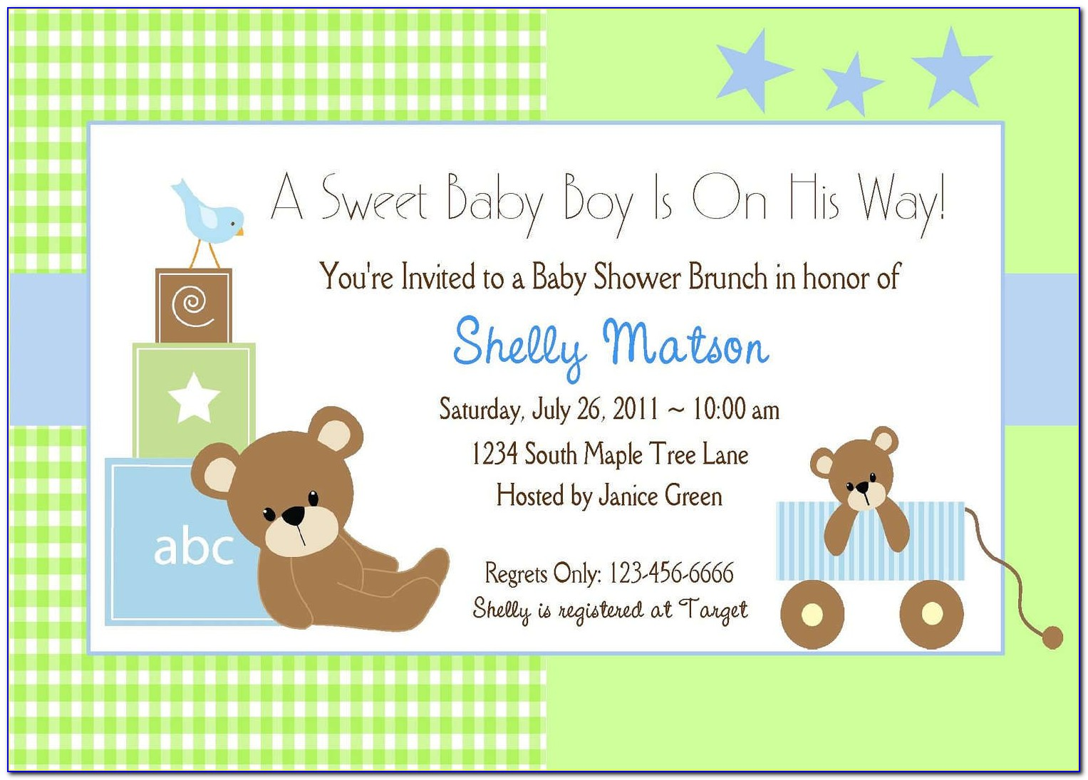 Template Baby Shower Invitations Wording